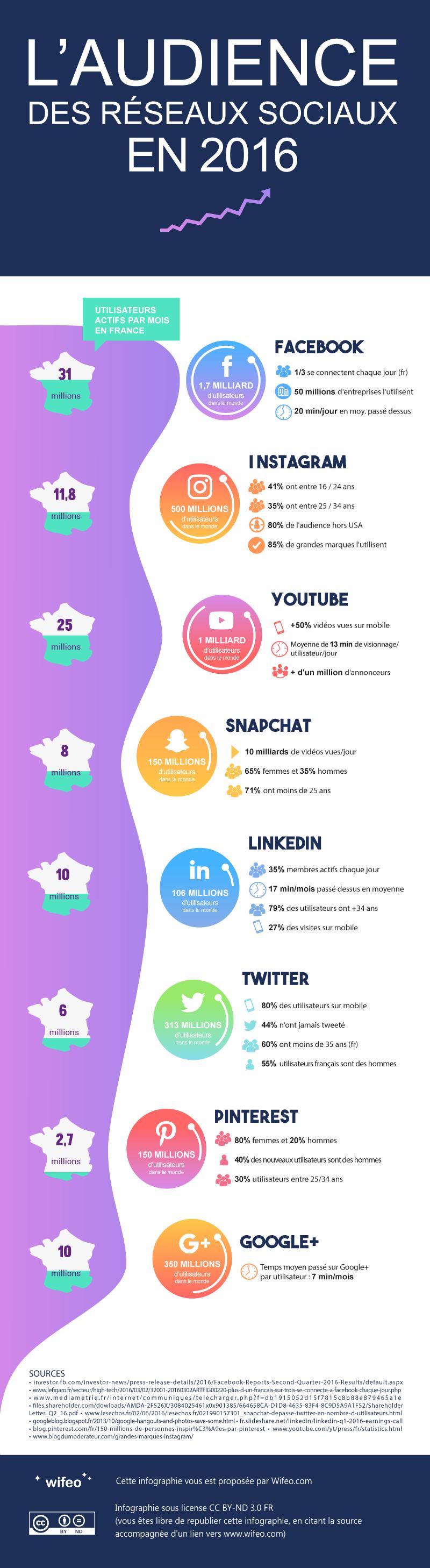 Infographie audience des principaux réseaux sociaux en 2016